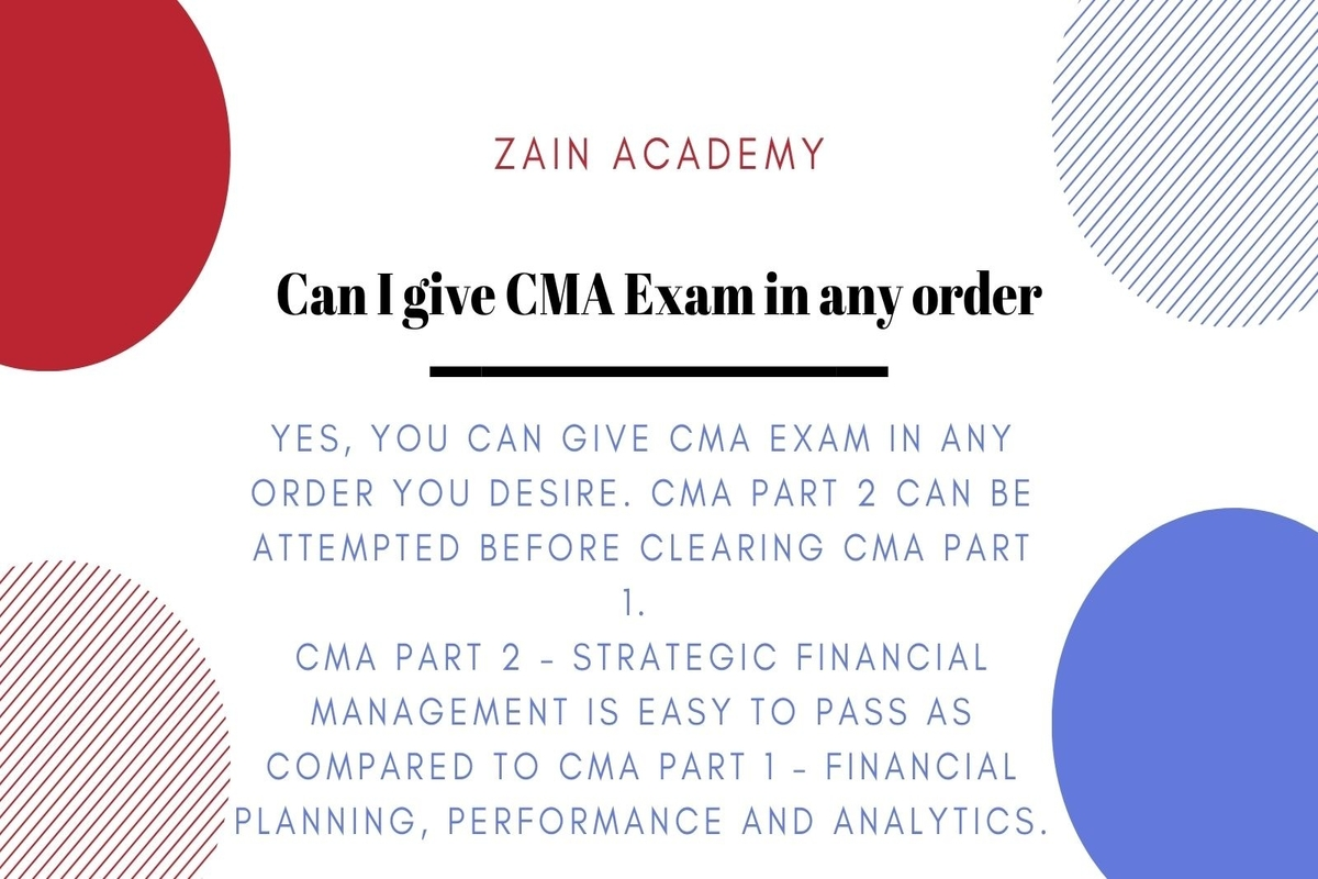 Can I give CMA Exam in any order