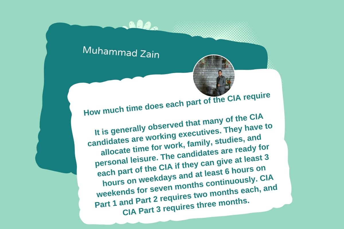 How much time does each part of the CIA require